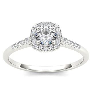 De Couer 10k White Gold 1/2ct TDW Diamond Engagement Ring