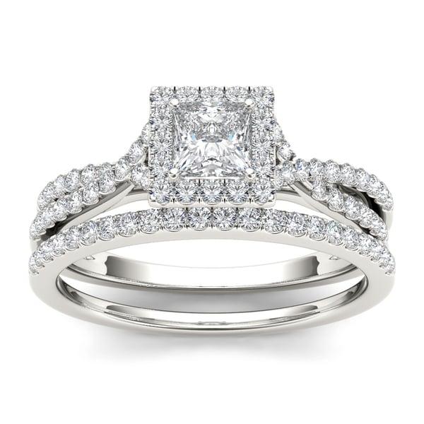 de couer 10k white gold 1ct tdw diamond princess cut engagement ring set - White Gold Princess Cut Wedding Rings