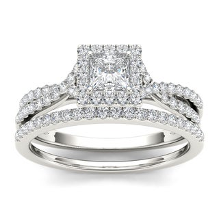De couer 10k White Gold 1ct TDW Diamond Princess-cut Engagement Ring Set