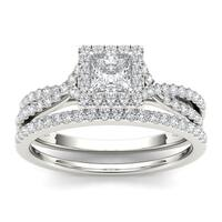 De couer  IGI Certified 10k White Gold 1ct TDW Diamond Princess-cut Engagement Ring Set
