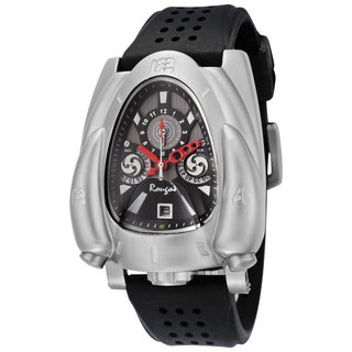 Rougois Men's Silver Rocket Black Silicone Rubber Watch