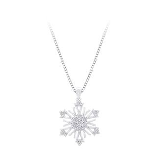 Sterling Silver Diamond Accent Snow Flake Pendant