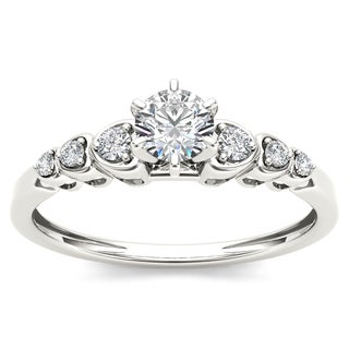 De Couer 10k White Gold 1/3ct TDW Diamond Luscious Solitaire Ring