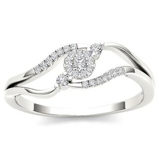 De Couer 10k White Gold 1/8ct TDW Diamond Ring