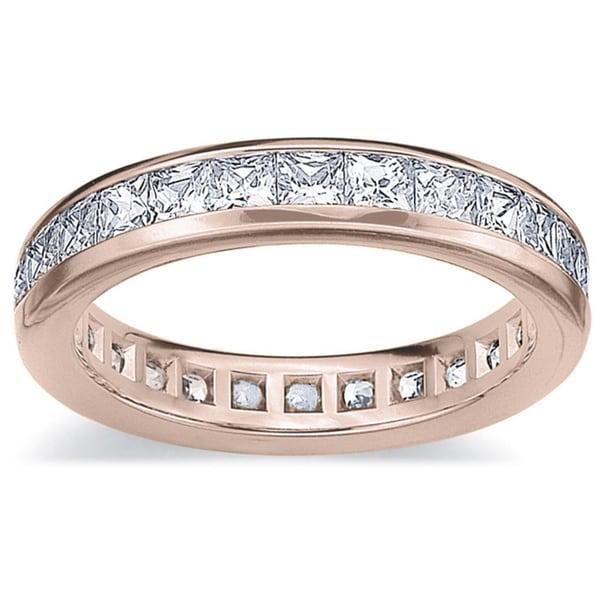 Amore 14k or 18k Rose Gold 2ct TDW Princess Eternity Diamond Wedding Band