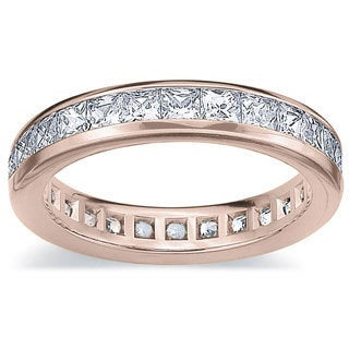 Amore 14k or 18k Rose Gold 2ct TDW Princess Eternity Diamond Wedding Band