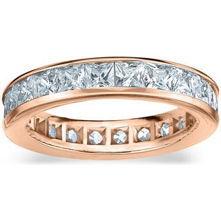 Amore 14k or 18k Rose Gold 3ct TDW Princess Eternity Diamond Wedding Band
