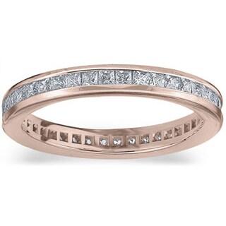 Amore 14k or 18k Rose Gold 1ct TDW Princess Eternity Diamond Wedding Band