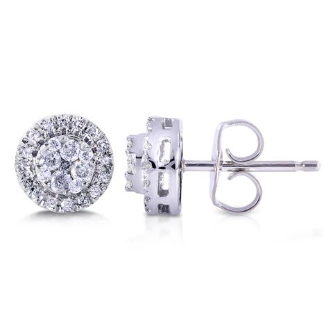 Annello by Kobelli 10k White Gold 1/4ct TDW Diamond Earrings
