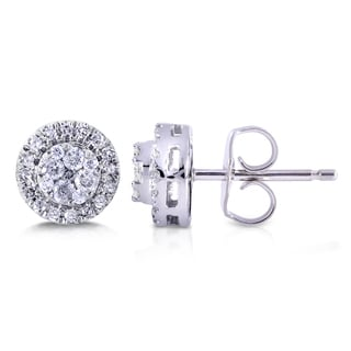 Annello by Kobelli 10k White Gold 1/4ct TDW Diamond Earrings