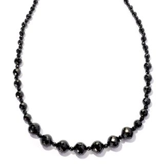 Stainless Steel Black Spinel Graduated Bead Magnetic Clasp Necklace