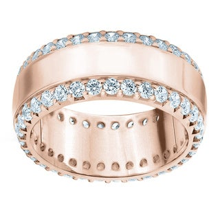 Amore 14k or 18k Rose Gold 1 1/2ct TDW 'Railroad' Diamond Anniversary Band (G-H, SI1-SI2)