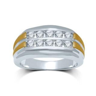 Unending Love Men's 10k Two-tone Gold 1ct TDW Diamond Fashion Ring (I-J, I2-I3)