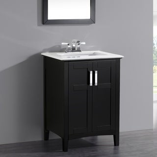 WYNDENHALL Salem Black 2 Door 24 Inch Bath Vanity Set With White Quartz  Marble
