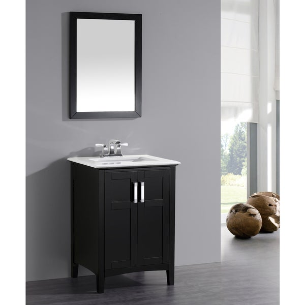 Wyndenhall Salem Black 2 Door 24 Inch Bath Vanity Set With White Quartz Marble Top Free