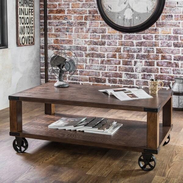 Furniture of America Town Industrial Oak Solid Wood Coffee Table