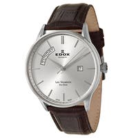 Edox Men's 'Les Vauberts' Brown Leater and Stainless Steel Swiss Automatic Watch