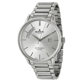 Edox Men's 'Les Vauberts' Stainless Steel Silvertone Dial Swiss Automatic Watch