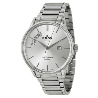 Edox Men's 'Les Vauberts' Stainless Steel Silvertone Dial Swiss Automatic Watch