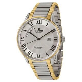 Edox Men's 'Les Vauberts' Yellow Goldplated Stainless Steel Swiss Automatic Watch