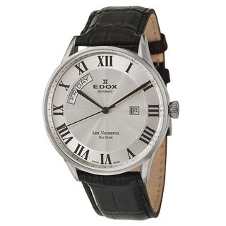 Edox Men's 'Les Vauberts' Stainless Steel and Black Leather Swiss Automatic Watch