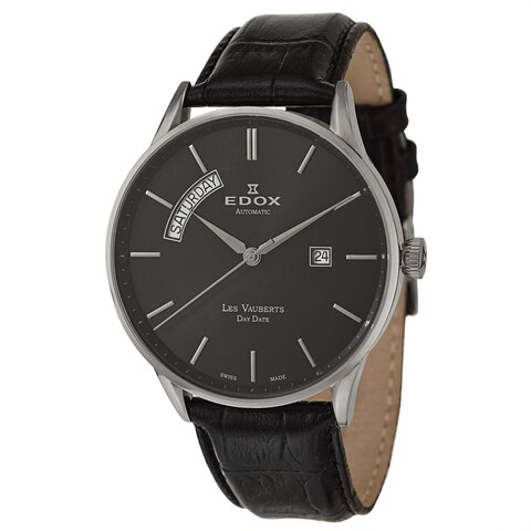 Edox Men's 'Les Vauberts' Stainless Steel Swiss Automatic Watch with Black Leather Band