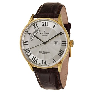 Edox Men's 'Les Vauberts' Stainless Steel Yellow Gold PVD Coated Swiss Automatic Watch