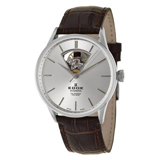 Edox Men's 'Les Vauberts' Stainless Steel Swiss Automatic Watch with Brown Leather Band