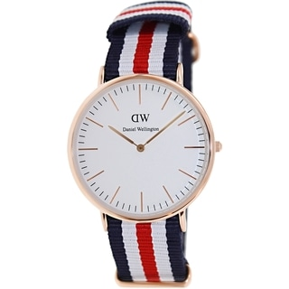 Daniel Wellington Men's Canterbury 0102DW Multicolor Nylon Quartz White Dial Watch