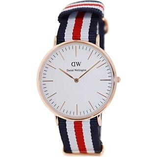 Daniel Wellington Men's Canterbury 0102DW Multicolor Nylon Quartz White Dial Watch