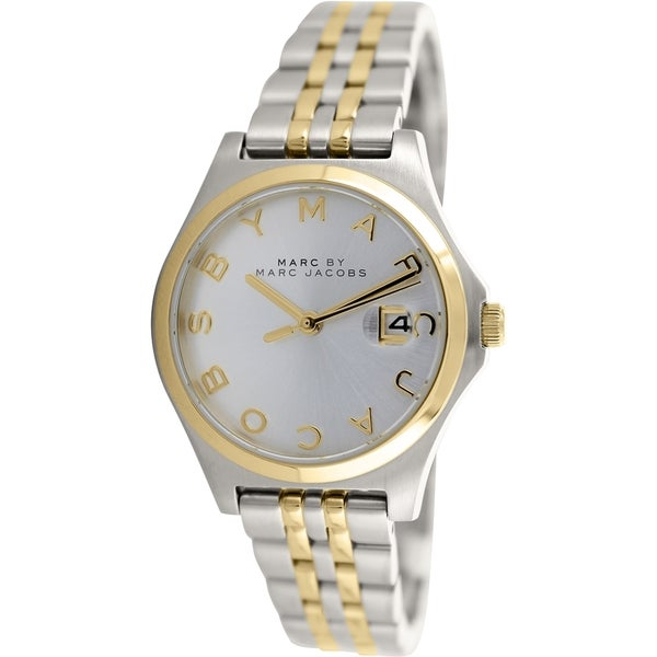 fd2228a103687 Shop Marc By Marc Jacobs Women's Slim MBM3325 Two-tone Stainless Steel  Quartz Silver Dial Watch - Free Shipping Today - Overstock - 9611557