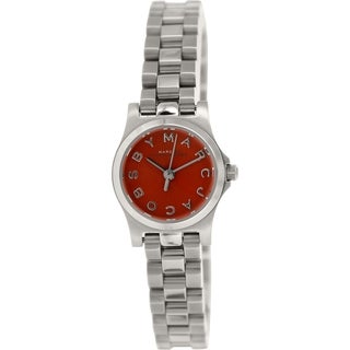 Marc By Marc Jacobs Women's Henry MBM3326 Silver Stainless Steel Swiss Quartz Orange Dial Watch