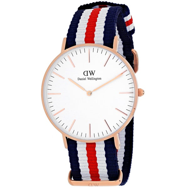Daniel Wellington Women's Canterberry 0502DW Multicolor Nylon Quartz White Dial Watch