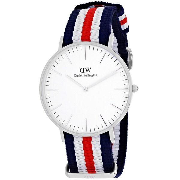 Daniel Wellington Women's Canterbury 0606DW Multicolor Nylon Quartz White Dial Watch