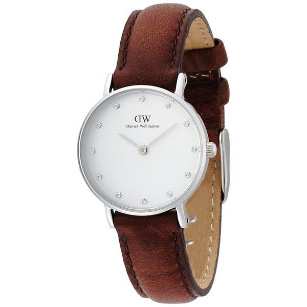4d21808b78012 Daniel Wellington Women  x27 s St. Andrews Brown Leather Quartz White Dial  Watch