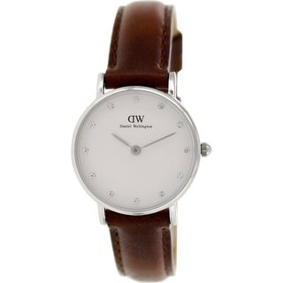 Daniel Wellington Women's St. Andrews 0920DW Brown Leather Quartz White Dial Watch