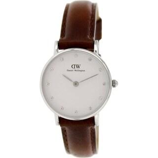 Daniel Wellington Women's St. Andrews Brown Leather Quartz White Dial Watch