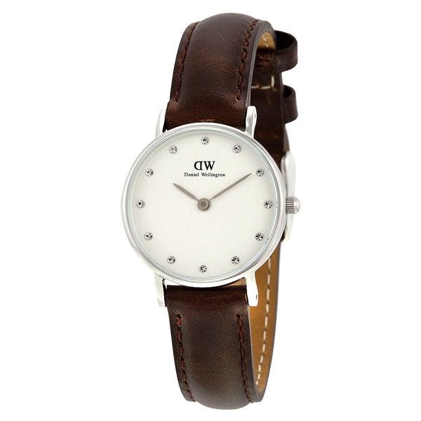 Daniel Wellington Women's Bristol 0923DW Brown Leather Quartz White Dial Watch