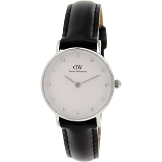 Daniel Wellington Women's Sheffield 0921DW Black Leather Quartz Watch with White Dial