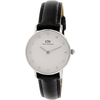 Daniel Wellington Women's Sheffield Black Leather Quartz Watch with White Dial