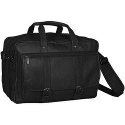 Men's David King Leather 100 Expandable Laptop Briefcase Black