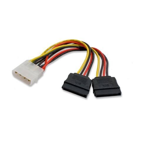 IOCrest 6 inch 6-inch Molex 4 pin Male to 2x 15 pin SATA Power Cable