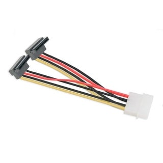 IOCrest 6 inch 6-inch Molex 4-Pin Male to 2x 15-Pin SATA Power Cable Right Angle