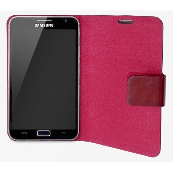 Connectland Red Leather Portfolio Phone Case Stand For