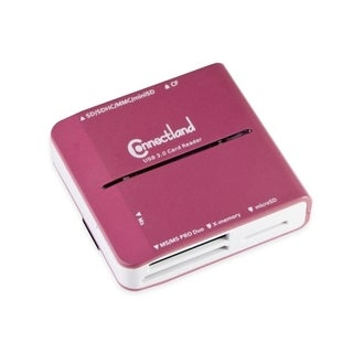 Connectland USB 3.0 Pink All-in-One Memory Card Reader 6x Slot High Speed