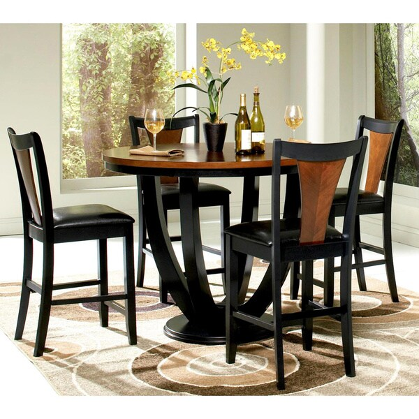 Dinning Set: Shop Besancon Two-tone Black/Cherry 5-piece Counter Height