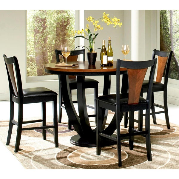 Black And Cherry Round Table And Two Dinette Chair 3 Piece: Shop Besancon Two-tone Black/Cherry 5-piece Counter Height