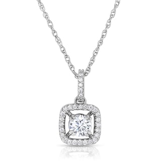 14k White Gold 5/8ct Halo Diamond Pendant Necklace (H-I, SI1-SI2)