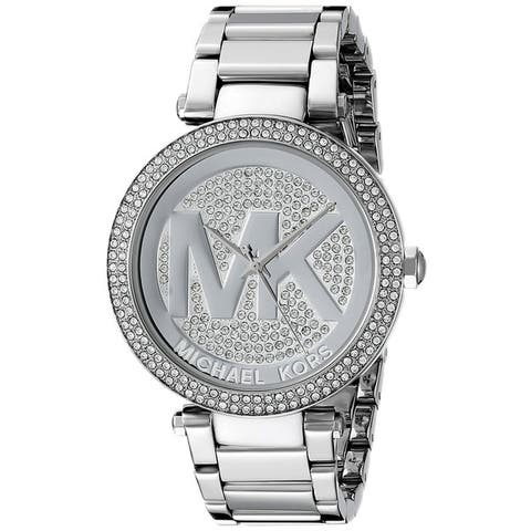 Michael Kors Women's Parker MK5925 Silver Stainless-Steel Quartz Watch with Silver Dial