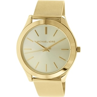 Michael Kors Women's Slim Runway MK3282 Gold Stainless-Steel Quartz Watch with Gold Dial